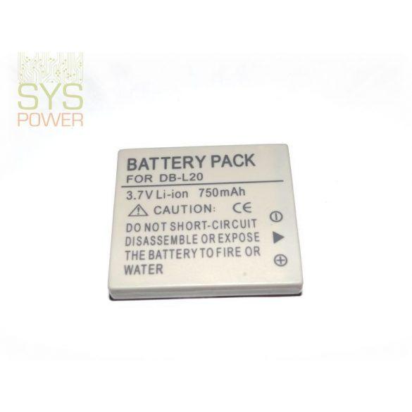 Sanyo DB-L20, 750 mah, 3,7 V akkumulátor (Utángyártott)