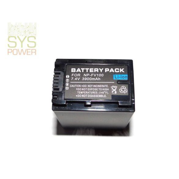 Sony NP-FV100, 3900 mah, 7,4 V akkumulátor (Utángyártott)